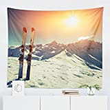 Skiing Tapestry - Mountain Winter Ski Snowy Wall Tapestries Hanging Décor Bedroom Dorm College Living Room Home Art Print Decoration Decorative - Printed in the USA - Small Medium Large Sizes