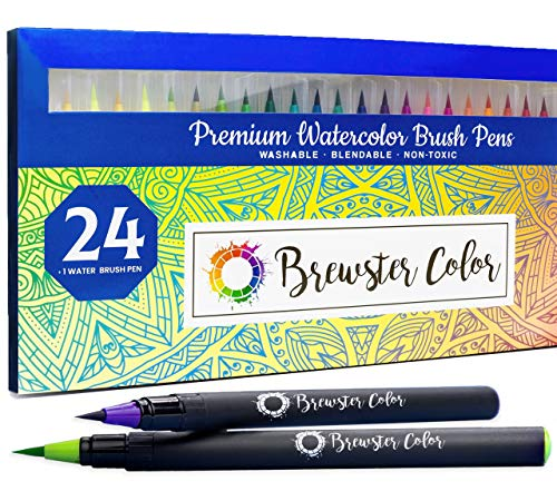 Watercolor Brush Pens by Brewster Color- Easy to Use Flexible Nylon Brush Tip Calligraphy Pens- 24 plus 1 Water Brush Pen for Hand Lettering, Coloring- Art supplies for Kids and Adults