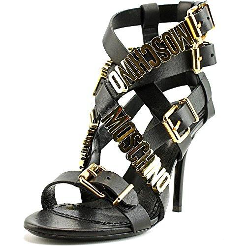Sandalia Strappy Moschino Piel Sandals Logo Plaque fqwwWPO6X