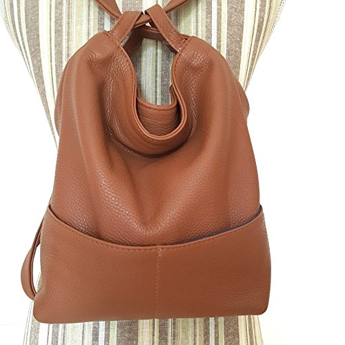 Convertible leather backpack and shoulder bag Small Medium Brown Women by Ganza Design
