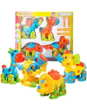 AUUGUU Dinosaur STEM Learning Toys Building Play Set for 3 4 5 6 7 Year Old Boys and Girls, Take Apart Fun, 4 Pack with Tools, Random Colors
