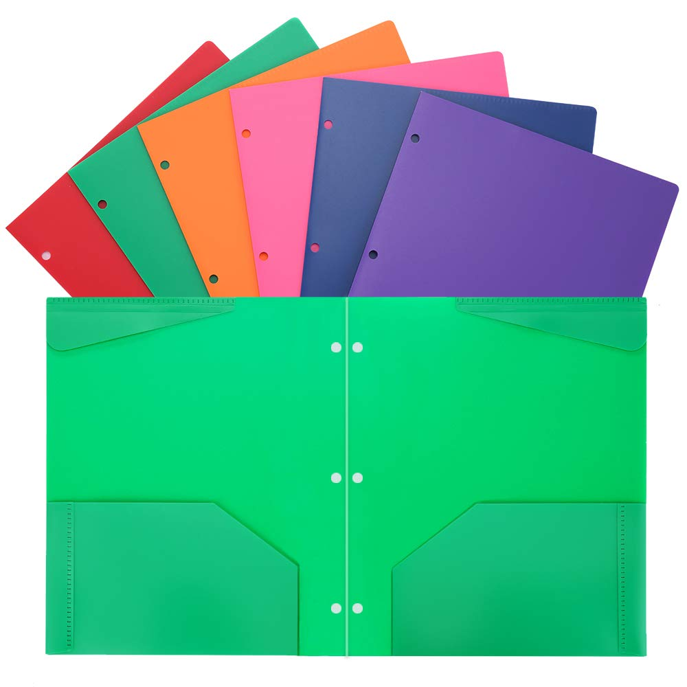 Folders Heavy Duty 2 Pocket Plastic Folders with 3 Hole Letter Size for School Work and Home Plastic-Folders-with-Pockets Assorted Colors by WOT I