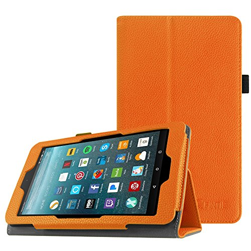 Fintie Folio Case for All-New Amazon Fire 7 Tablet (7th Generation, 2017 Release) - Slim Fit PU Leather Standing Protective Cover Auto Wake / Sleep, compatible with Fire 7 (5th Gen, 2015), Orange