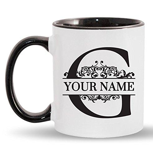 G - Custom Monogram Coffee Mugs - ADD YOUR NAME - Personalized Ceramic Cups - 11oz