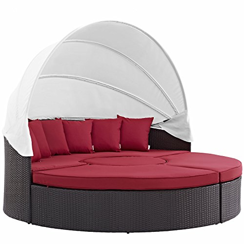 Modway Convene Canopy Outdoor Patio Daybed, Espresso Red