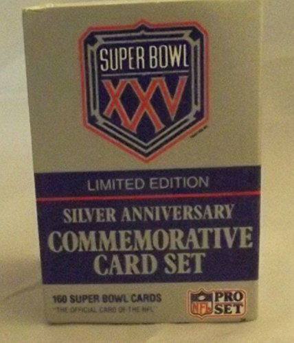 Super Bowl Limited Edition Football (Pro Set Super Bowl XXV Limited Edition Silver Anniversary Commemorative NFL Football Card Set)