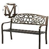 50' Patio Garden Bench Park Yard Outdoor Furniture Steel Frame Porch Chair
