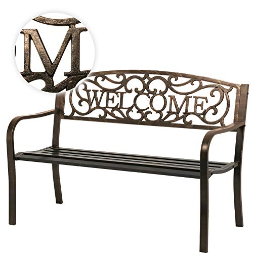 FDW Garden Bench Outdoor Bench for Patio Metal Bench Park Bench Cushion for Yard Porch Work Entryway (Bronze) (Outdoor Bench Steel)