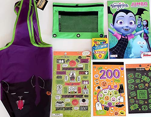 Halloween Trick or Treat Purple Cat Bags, Disney Junior Vampirina Coloring Book, 24 Pack Crayola Crayons w/ neon green pencil pouch / case, Glow In The Dark Stickers, Puffy Stickers, Scary, Boo, Halloween Candy bags]()