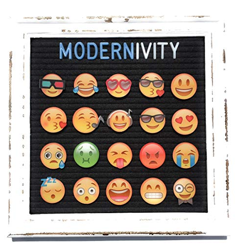 Modernivity Premium High Resolution Emojis - Felt Letter Board Accessories -- 20 Magnetic Display Ready Full Color Emojis + 1 Free Premium Pineapple Emoji - Emoticon ONLY, Letterboard Sold Separately