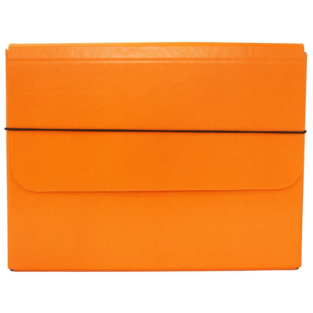 JAM Paper Strong Thick Portfolio Carrying Case with Elastic Band Closure - 10'' x 1 1/4'' x 13 1/4'' - Orange - Sold Individually