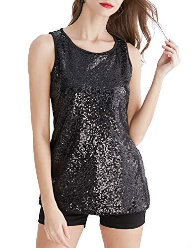 Uhapy Women's Plus Size Sparkle Shimmer Camisole Vest Glitter Sequin Tank Tops S-5XL -