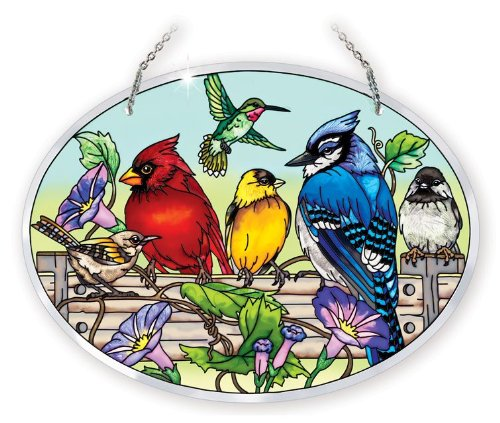 Amia 41053 Hand Painted Beveled Glass 9 by 6-1/2-Inch Oval Sun Catcher, Multiple Birds on Rail Design, Large