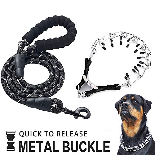 Leather Pinch Collar - OSPet Dog Prong Collar, Professional Dog Pinch Training Collar Adjustable Size with Quick Release Buckle Stainless Steel Choke Pinch Dog Collar with Comfort Tips Heavy Duty Leash