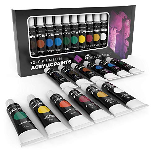 Castle Art Supplies Acrylic Paint Set for Beginners, Students or Artists, 12 x 12 Millilitre Tubes, Vivid Colors