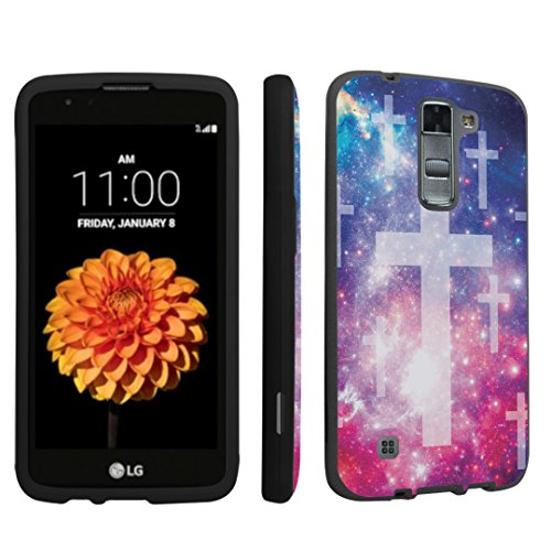 LG Tribute 5 Case / LG K7 Case, DuroCase ® Hard Case Black for LG Tribute 5 / LG K7 (Released in 2016) - (Space Cross)