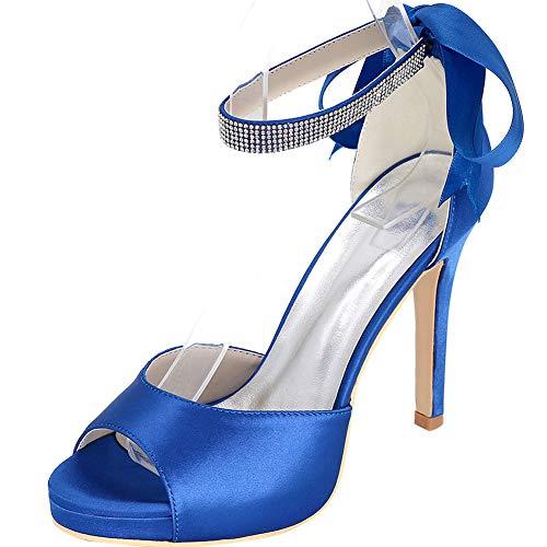 Tacón Rocío De Boca Hlg Alto Rhinestone Zapatos La Pescado Mujer blue Correa Aguja Baile Boda Fiesta 35eu Satén wzHfqI1x