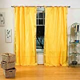 Yellow Tie Top Sheer Sari Curtain / Drape / Panel - 43W x 84L - Piece