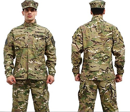 Camouflage Military Battle Dress Uniform Set, Coat + Pant Camo Paintball Hunting Clothing, Tactical Military Combat Cargo BDU Suit (CP, XXL)