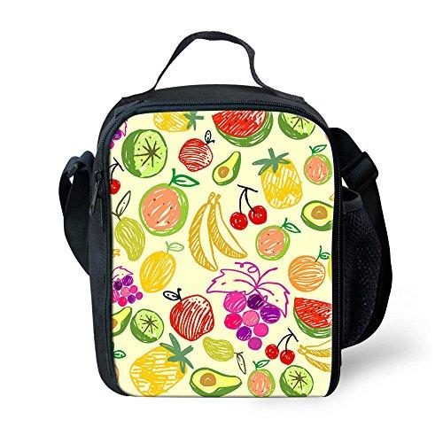 Showudesigns Mode Fruits Lunch Box Isotherme déjeuner pique-nique Sacs pour enfants léger S Fruit Fruit