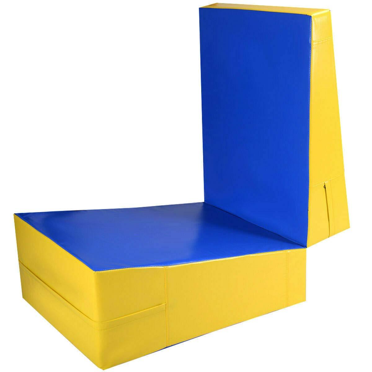NanaPluz 70インチ 折りたたみエアロビクスタンブリングウェッジ傾斜マット PVCカバー チーズフィットネス 体操 ジム エクササイズ スロープ電子ブック付き