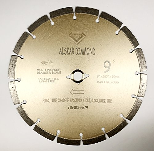 (ALSKAR DIAMOND ADLSS 9 inch Dry or Wet Cutting General Purpose Power Saw Segmented Diamond Blades for Concrete Stone Brick Masonry (9
