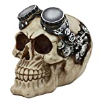 Ebros Steampunk Pilot Aviator Robotic Skull Statue Sci Fi Decor Figurine with Painted 3D Protruding Gearwork Mechanism Design 7