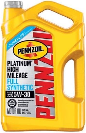 Pennzoil Platinum High Mileage Full Synthetic 5W-30 Motor Oil for Vehicles Over 75K Miles (5-Quart