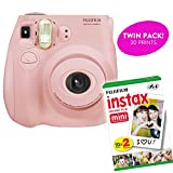 Fujifilm Instax Mini 7S Instant Print Camera (Certified Refurbished) Plus Twin Pack of Film Starter Bundle | 10 Sheets x 2 = 20 White Frame Instant Exposure Photograph Sheets (Light Pink)