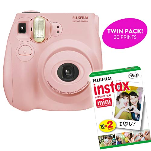 Fujifilm – Instax Mini 7S Instant Camera Product Bundles | Film Pack Options & Renewed (Mini 7S + 1 Film Pack, Light Pink)