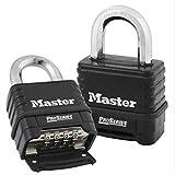 Master Lock 1178D 4 Pack 2-1/4in. ProSeries Zinc Die-Cast Resettable Combination Padlock, Black