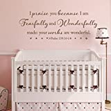 BATTOO I Am Fearfully And Wonderfully Made Psalm 139:14 Vinyl Wall Decal Bible Verse Wall Decal Scripture Wall Art Nursery Wall Decal, 30'' W by 11.5'' H Dark Brown