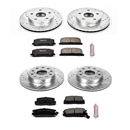 - Power Stop K4342 Front & Rear Brake Kit with Drilled/Slotted Brake Rotors and Z23 Evolution Ceramic Brake Pads