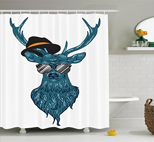 Ambesonne Antlers Decor Shower Curtain Set, Image Of A Deer Hipster In Glasses Hat And Mustache Stylish Modern Fashionable Decor, Bathroom Accessories, 69W X 70L Inches, Teal Black