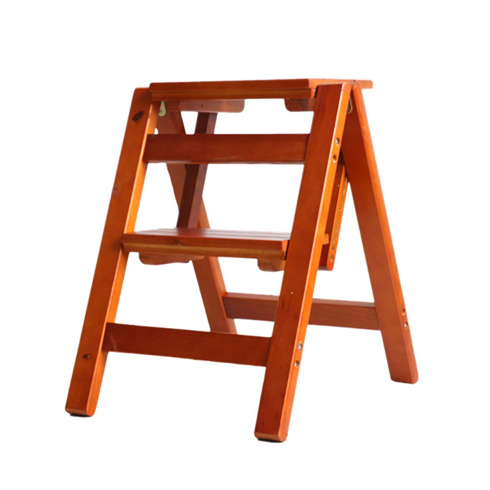 BROWN DNSJB 2 Steps Folding Ladder Stool Multi-Function Dual-use Step Stool Household Stair Chair Solid Wood Step Ladder (color   Black)