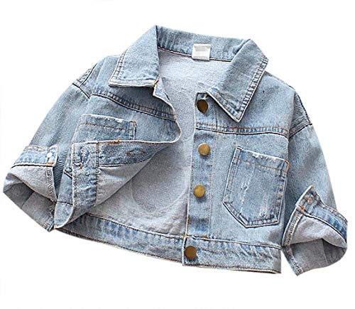 Toddler Kids Boys Girls Cartoon Dog Washed Denim Ripped Jackets Button Down Windproof Jean Coats Turn Down Collar Tops Size 12-18Months/Tag10 (Blue)