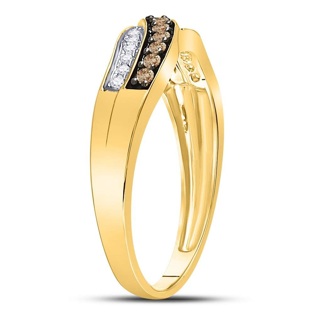 Sonia Jewels Size 9-10k Yellow Gold Round Chocolate Brown Diamond Band Ring (1/4 Cttw)