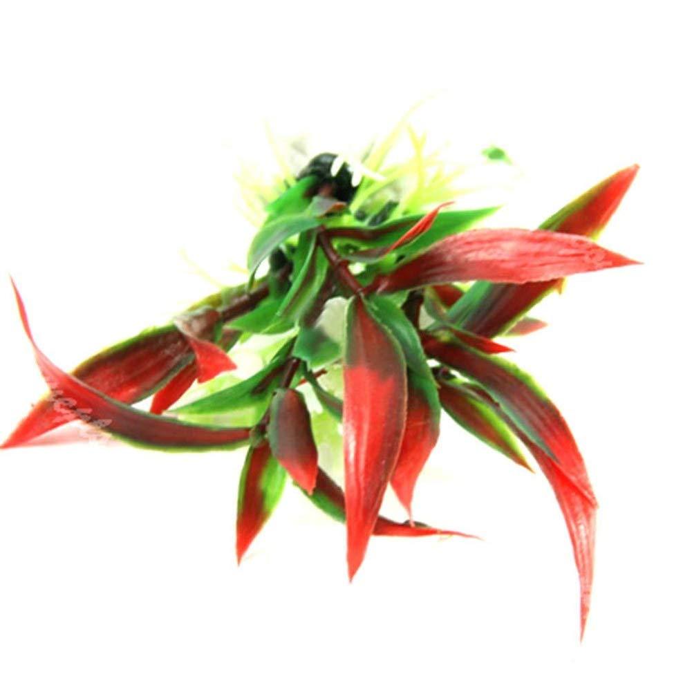 Aardich Simulation Aquatic Plant Artificial Decor Plant Grass for Aquarium Fish Tank Landscape Decoration Red Pet Supplies