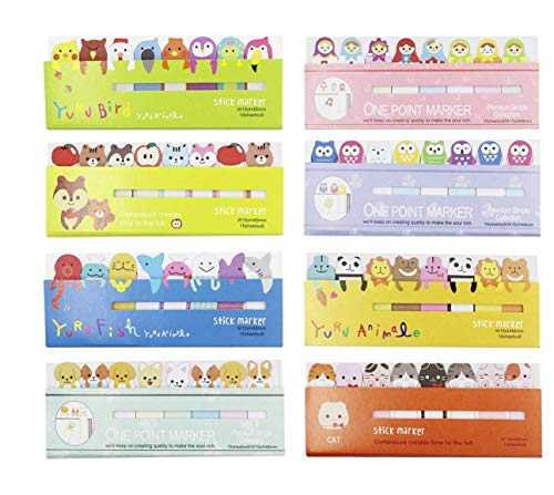 (8 Pack) Aimeio Creative Sticky Notes Cute Animals Sticker Bookmarks Memo Pad Sticky Notepaper Page Flags Self-Stick Tab Bookmark Marker Pad,8x120 Sheets