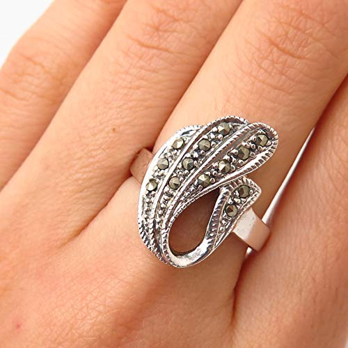 925 Sterling Silver Real Marcasite Gem Abstract Design Ring Size 7.5 Jewelry by Wholesale Charms