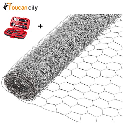 Toucan City Tool kit (9-piece) and Acorn International 1 in. x 6 ft. x 50 ft. Poultry Netting PN17250