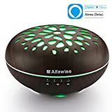 Alfawise 300ml Essential Oil Diffuser Aromatherapy Humidifier Works with Alexa, 7 Colors LED Lights Adjustable Waterless Auto Shut-off Mist Aroma for Office Home Bedroom Living Room Yoga Spa Salon Use