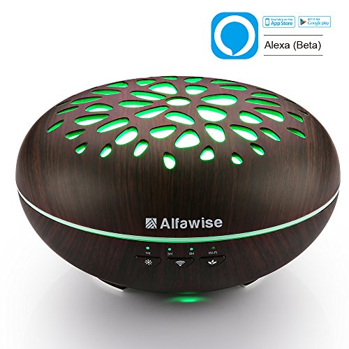 Alfawise Wifi Essential Oil Diffuser  Compatible With Alexa   400Ml Wood Grain Ultrasonic Aroma Cool Mist Humidifier For Office Home Bedroom Baby Room Study Yoga Spa