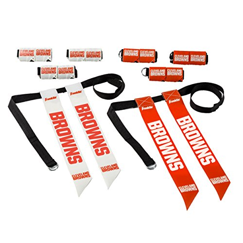 Official Nfl Flag - Franklin Sports Cleveland Browns Flag Football Set - 8 Flag Belts - 8 Player - Self Stick Tear-Away Flags - NFL Official Licensed Product