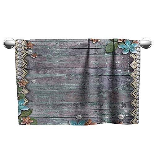 duommhome Pearls Decor Collection Beach and Pool House Towel Floral Rustic Print with Pearls and Lace Decorative Flowers on Old Wooden Background W12 x L35 Brown Blue
