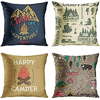 Emvency Set of 4 Throw Pillow Covers Camp Emblem with Mountain Campfire and Forest Camping Adventure Vintage Decorative Pillow Cases Home Decor Square 18x18 Inches Pillowcases