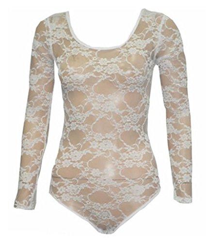 Commencer–Maillot de gimnasia de manga larga floral lace bodysuits Top blanco