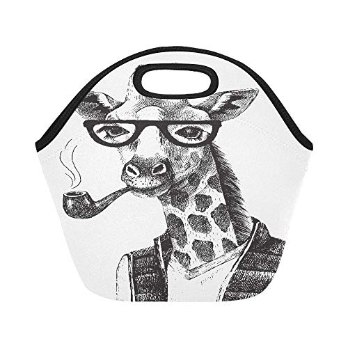 - Insulated Neoprene Lunch Bag Hand Drawn Black Giraffe With Sunglasses And Pipe Large Size Reusable Thermal Thick Lunch Tote Bags For Lunch Boxes For Outdoors,work, Office, School