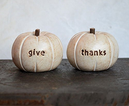 [Thanksgiving fall decor gift ... set of 2 rustic white give thanks pumpkins] (Things That Start With Letter I)