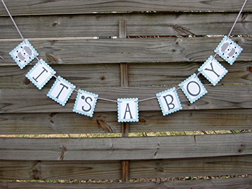 It's A Boy banner - Lamb themed Baby Shower Banner in Light Blue and Grey -